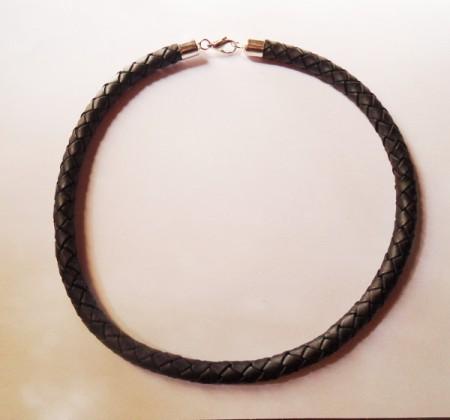 Geflochtenes Echtlederband in schwarz