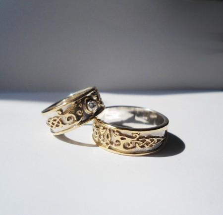 Eheringe keltische Drachen Gold-Silber-Diamant