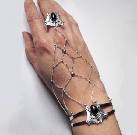 Handnetz Fledermaus mit Onyx