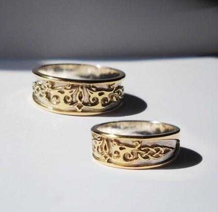 Eheringe keltische Drachen aus Gold und Silber