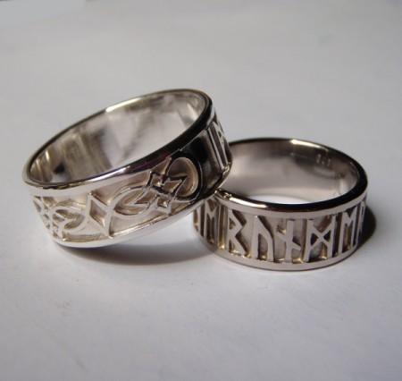 Keltische Eheringe mit wählbaren Runen Weissgold