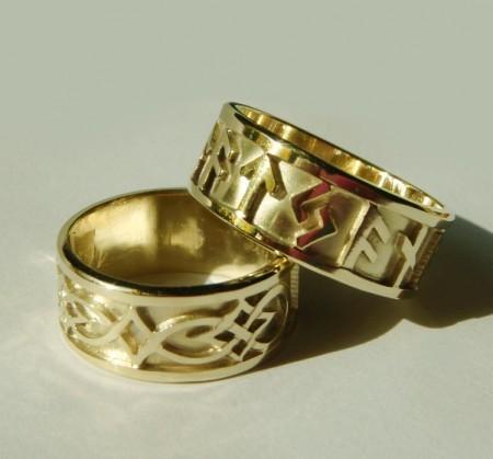 Keltische Eheringe mit wählbaren Runen Gelbgold