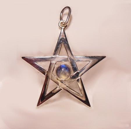 Kettenanhänger Pentagramm mit Mondstein