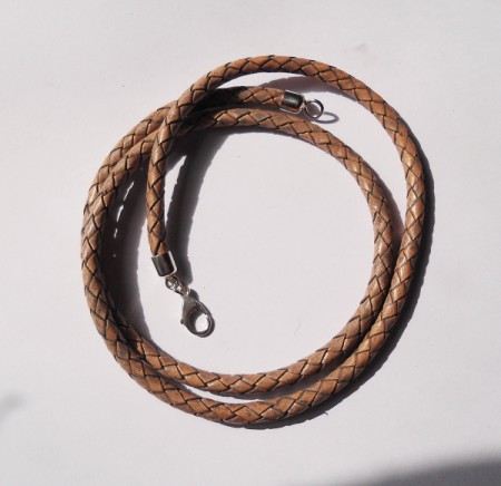 Geflochtenes Lederband braun-beige
