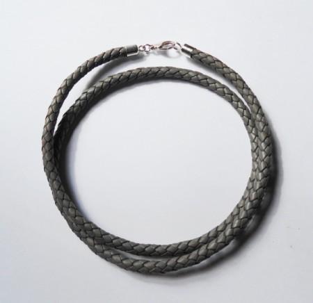 Geflochtenes Lederband grau