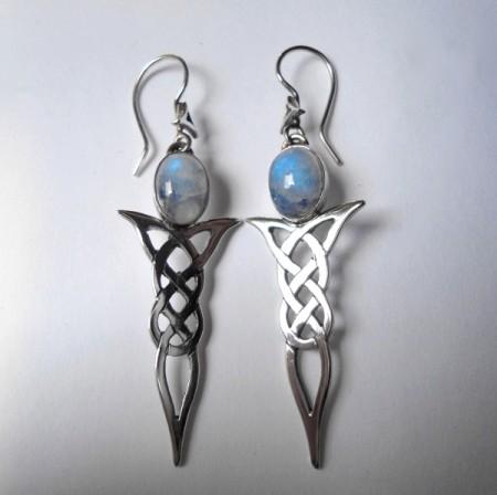 Keltische Ohrhänger mit Mondstein