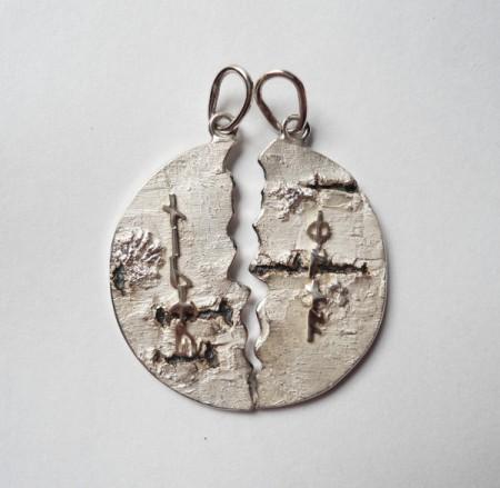 Partneranhänger Birkenrinde mit wählbaren Runen