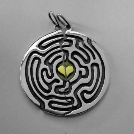 Partneranhänger Labyrinth mit Goldherz
