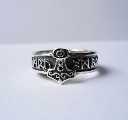 Ring Thorshammer mit wählbaren Runen